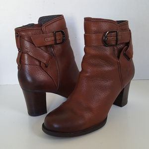 Clarks Brown Leather Zip Ankle Boots Booties